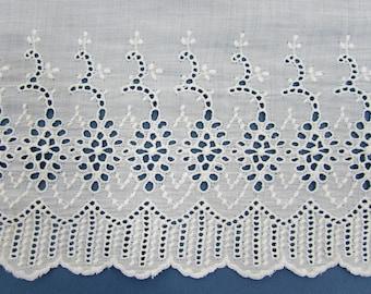"""Blanc antique 100 """"x 9"""" oeillet volant dentelle de récupération garniture jupon en coton"""