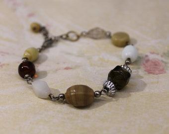 Multi-Color Earth Tones Glass and Plastic Bead Bracelet
