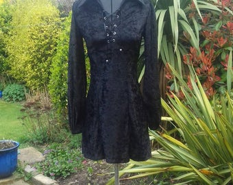 Black crushed velvet dress with collar,lace up front and bishop sleeves made from 70s vintage sewing pattern