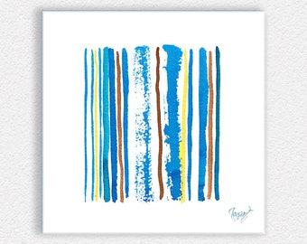 Acrylic glass panel wall art, Brushcode White - blue yellow white acrylic ink painting printed on acrylic glass plexiglass perspex