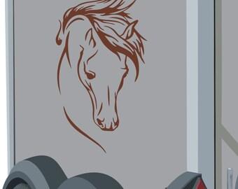 Horse head vinyl wall art sticker 30cm tall - #1 car horse box motor home trailer- WS1007