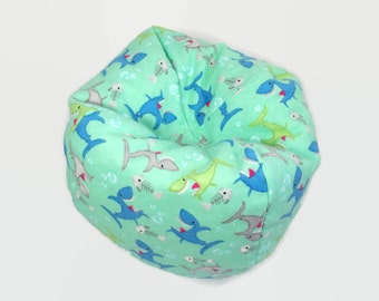 18 Inch Doll Furniture - Soft Flannel Bean Bag with Sharks for Dolls and Teddy Bears