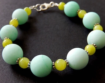 Baby Blue Agate Bracelet, Lime Green Quartz Bracelet, Beaded Stone Jewelry