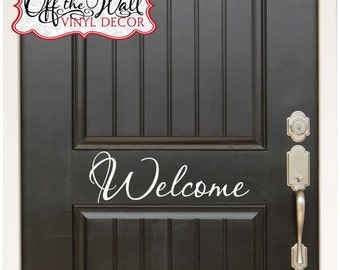 Welcome Front Door Vinyl Lettering Decal Sticker design3