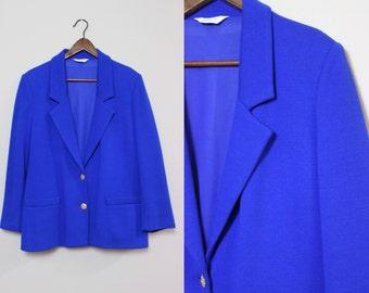 Vintage Blue Blazer / Wool Blazer with Gold Buttons