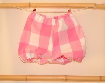 Bloomer, onesie, bloomers, shorts, baby and children from 3 months to the 24 months Plaid pink