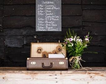 Plain slate chalkboard wedding
