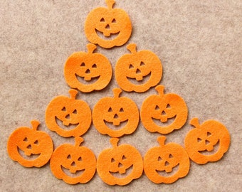 All Orange - Small Pumpkins - 24 Die Cut Felt Shapes (With Optional Backing Circle)