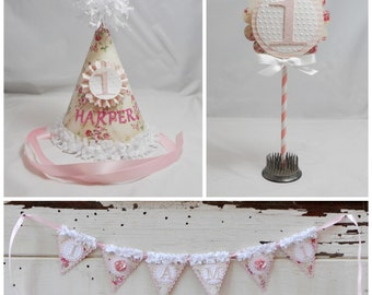 Cream Floral Smash Cake Photo Props- Set of 3- Girl 1st Birthday- Personalized
