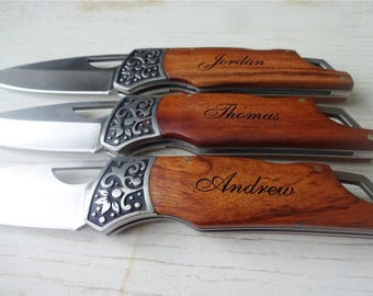3 SET Personalized Pocket Knives CLASSIC. Gift for Him. Gift for Dad, Husband, Brother, Boyfriend, Groom, Groomsmen.