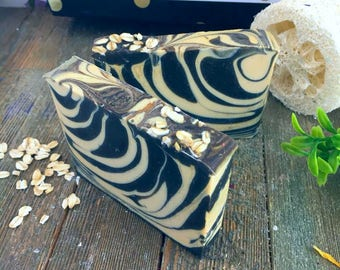 Oatmeal Beer Stout Handmade Soap, Beer Soap, Stout Beer Soap, Oatmeal stout soap, Bath and Beauty, Stout Soap, Striped soap, handmade soap
