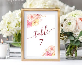 Table Number Cards - Pretty in Pink (Style 13634)