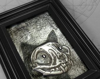 Jewelled Black Cat : hand embossed anatomical repoussé metal wall art