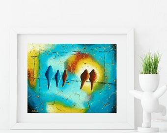 Birds on a Wire Art Print Wall Decor, Bird Art Print Modern Wall Art, Nature Lover Gift