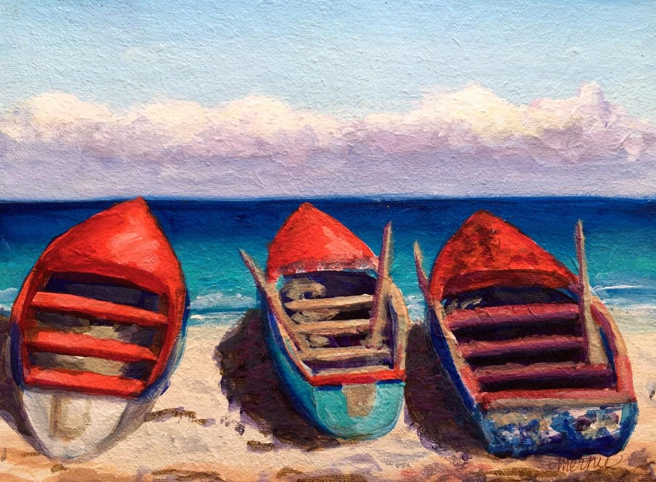 Jamaica Beach Original Acrylic Painting /Tropical Island Beach