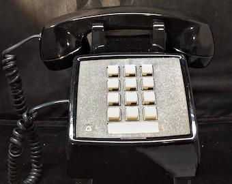 Black Push Button Phone.Vintage Push Button Desk Phone. Old Phone. Retro Phone.