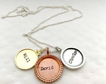 Kids Name Necklace - Hand Stamped Name Jewelry - Gifts for Mom - Gifts from Kids - Personalized - Mixed Metal Necklace - Mom Jewelry