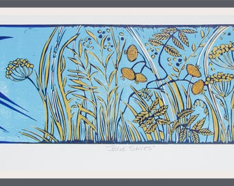 linocut, swallow, summer print, bird print, blue sky, ochre yellow, flower print, printmaking, limited edition art,