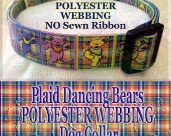 Polyester Webbing Plaid Grateful Dead Dancing Bears Designer Novelty Dog Collar
