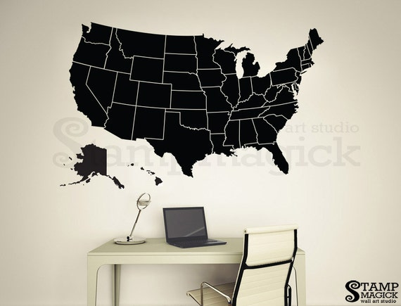United States Of America Map Wall Decal USA Wall Map Vinyl - Dry Erase Blank Us Map