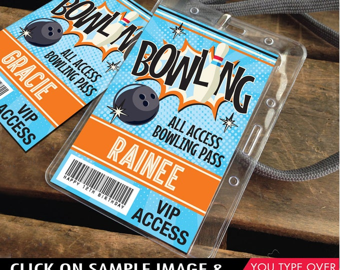 Bowling Party ID Badges - Bowling Bash, Bowling Birthday, All Access Badge, Orange/Blue | INSTANT Download Printable PDFs