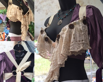 Cream lace and button bra 36d padded bellydance, burningman, fairy fest, Renn Faire, steampunk