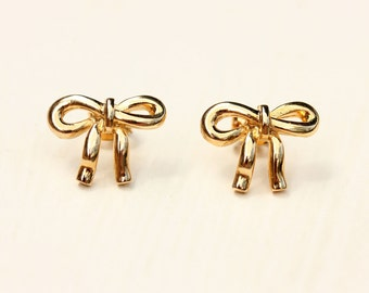 Bow Stud Earrings - Silver or Gold