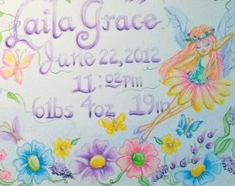 Children's Art On Canvas Handpainted and Personalized Name and Stats 16 x 20