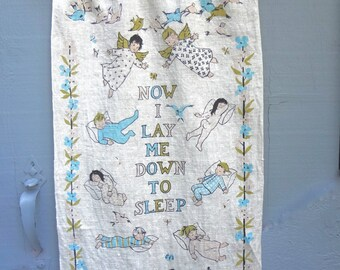 Vintage Linen Wall Hanging Now I Lay Me Down To Sleep 1950s Steven Linens Associates Inc  29 Inches Long X 18 Inches Wide Nursery Decor