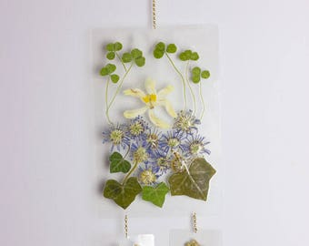 Real Pressed Flowers & Leaves Hanging Wall Art, Original Handmade, One of a Kind
