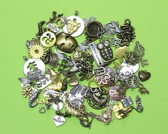 LIQUIDATION 100 Charms Assorted Antique Silver Bronze and Gold Tone Less Than Wholesale Cost Grab Bag 90% Off GRAB10