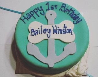 Anchor Nautical Beach themed Dog cake Beach day