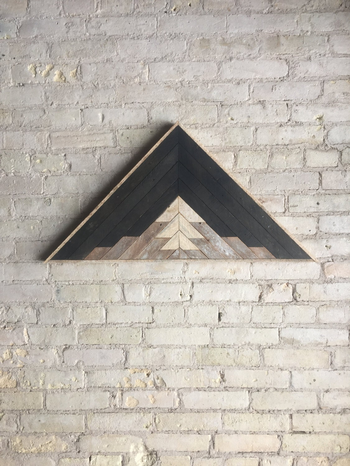 Reclaimed wood wall art decor lath pattern triangle - Wall designs with wood ...