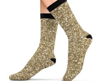 Gold Glitter Design Printed Sublimation Socks