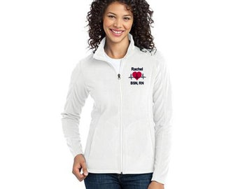 Personalized EKG Heart Full-Zip LADIES Fleece Jacket * Custom Embroidered  Nurse RN Nursing Doctor