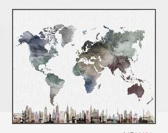 World Map poster with skylines, wall art, Art print, Travel world map watercolor, Large world map, Gift, home decor, ArtPrintsVicky