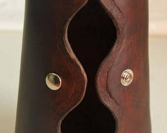 Leather Blacksmith Arm Guard - Bison Brown W/Nickel Snaps
