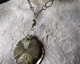 sterling silver and pyrite sun medallion necklace, labradorite bead, large link chain, natural stone ooak unique statement, AnvilArtifacts