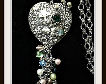 Cat Necklace, Vintage Cat , One of a Kind Cat Necklace  , Cat Lovers , Vintage Jewelry, Cat jewelry, Silver 99 plated silver