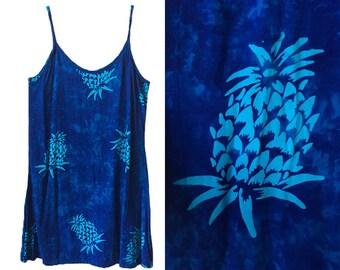 pineapple print blue tie dye washed out sleeveless spaghetti strap flowy vintage summer pattern mini dress, M, L, XL