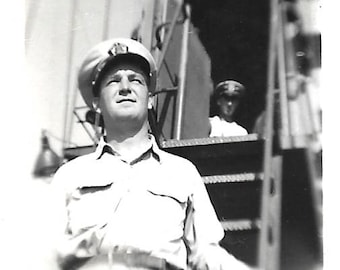 "Vintage Snapshot ""On Board Ship"" Military Officer Squints Into The Sun Point Of View Abstract Found Vernacular Photo"