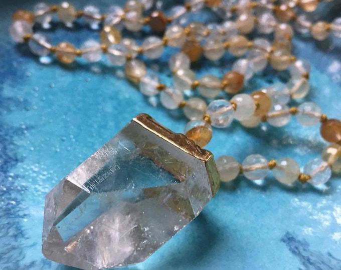 Pre Order | 108 Bead Handknotted Faceted Citrine + Quartz Crystal Pendant Spiritual Junkies Yoga and Meditation Mini Mala (6 mm)