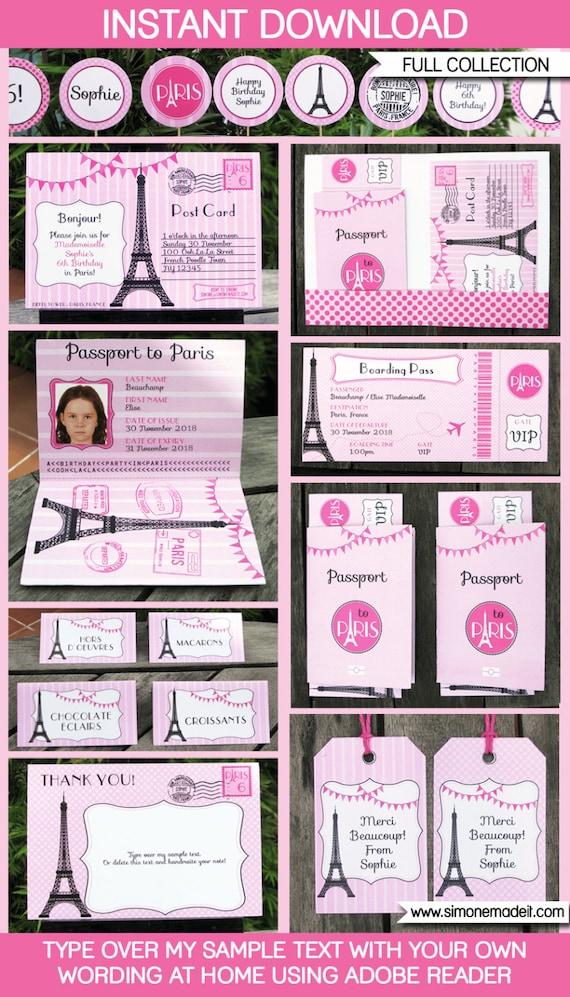 Paris Theme Party Invitation & Decorations full Printable