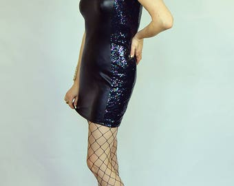 Sequin panel dress Side panel dress Black sequin bodycon Sequin party dress Leather look dress