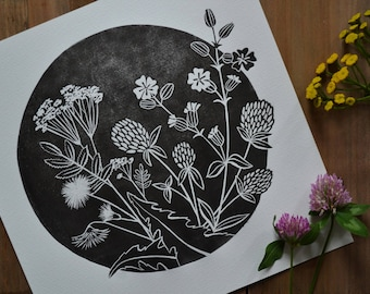 Linocut Print, Flowers Print, Meadow Flowers, Home Decor, Block Print, Relief Print, Handmade, Lino Print, Graphic