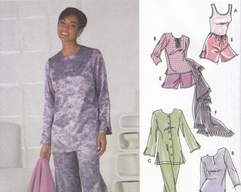 FREE US SHIP Simplicity 5325 Sewing Pattern Pj's Pajamas Short long Pants Blanket Loungewear Uncut Size 6 8 10 12 Bust 30 31 32 34