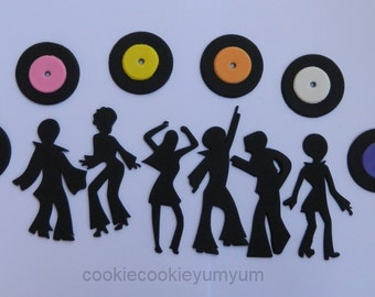 6 dancing edible DISCO People & 12 RECORDS music vinyl hippy cake topper 70's dancer cupcake wedding topper decoration wedding anniversa