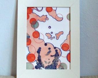 Abstract Art Face Circles Orange Blue Green with Block Print 5 x 7 Art Print Mixed Media