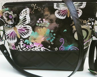 Butterfly and faux leather shoulder/crossybody bag