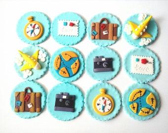 travel cupcake toppers Edible fondant 12 pcs